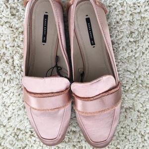 NWT Zara satin loafers